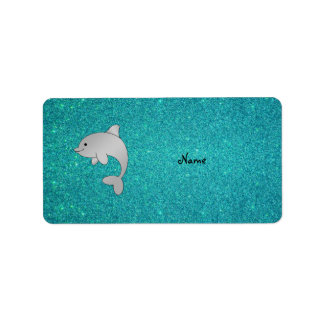 Personalized name dolphin turquoise glitter label