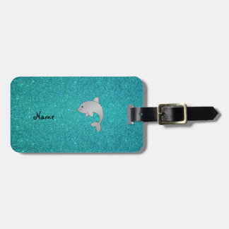 Personalized name dolphin turquoise glitter luggage tag