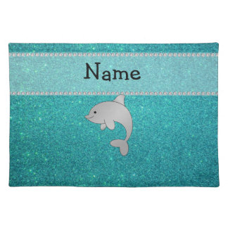 Personalized name dolphin turquoise glitter placemat