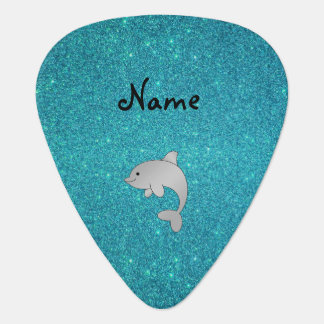 Personalized name dolphin turquoise glitter plectrum