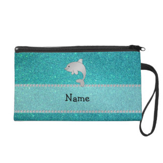 Personalized name dolphin turquoise glitter wristlet purses