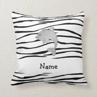 Personalized name dolphin zebra stripes cushion