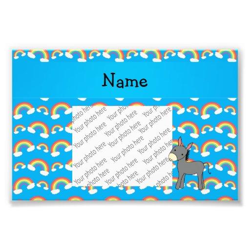 Personalized name donkey blue rainbows art photo