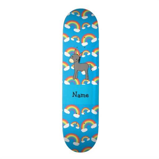 Personalized name donkey blue rainbows skateboards