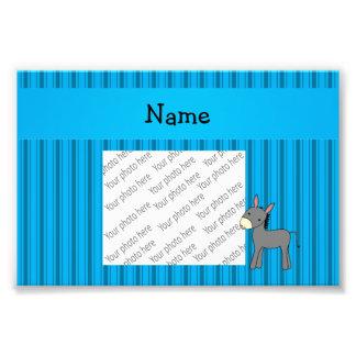 Personalized name donkey blue stripes art photo