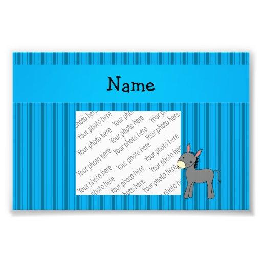 Personalized name donkey blue stripes photographic print