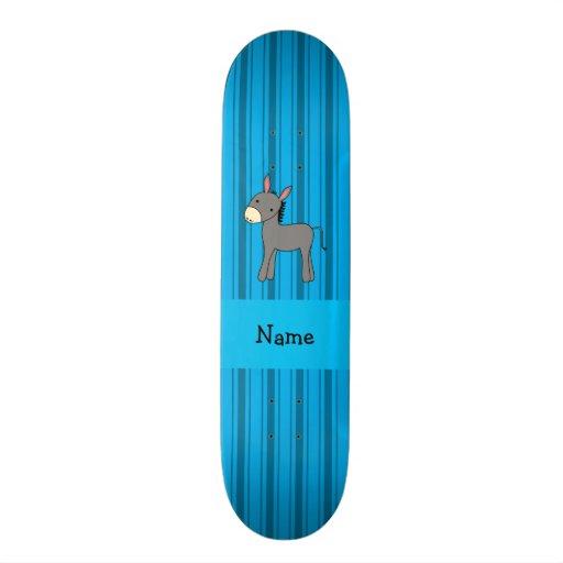 Personalized name donkey blue stripes skate board deck