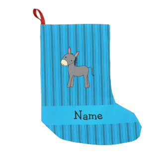Personalized name donkey blue stripes small christmas stocking