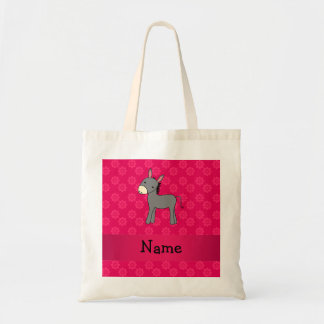 Personalized name donkey pink flowers budget tote bag