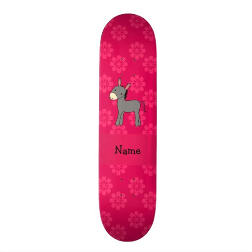 Personalized name donkey pink flowers skateboard deck