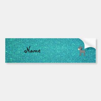 Personalized name donkey turquoise glitter bumper sticker