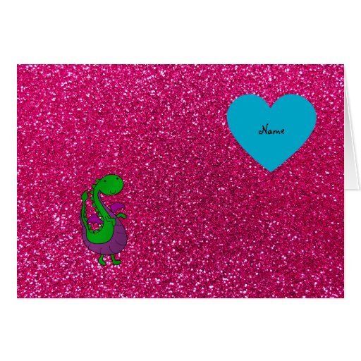 Personalized name dragon hot pink glitter card