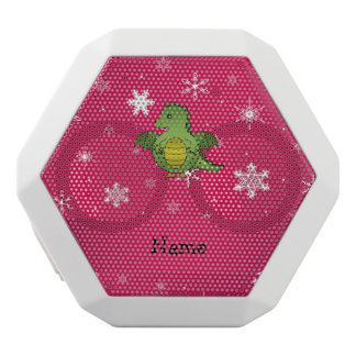 Personalized name dragon pink snowflakes white boombot rex bluetooth speaker