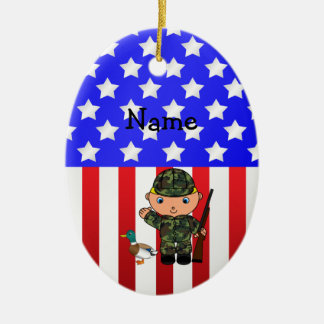 Personalized name duck hunter american flag christmas ornament