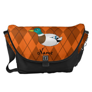 Personalized name duck orange argyle commuter bags
