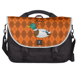 Personalized name duck orange argyle bag for laptop