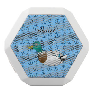 Personalized name duck pastel blue anchors white boombot rex bluetooth speaker
