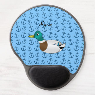 Personalized name duck pastel blue anchors gel mouse pad