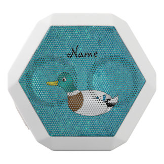 Personalized name duck turquoise glitter white boombot rex bluetooth speaker