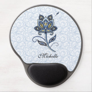 Personalized Name Elegant Floral Paisley Blue Gel Mouse Pad
