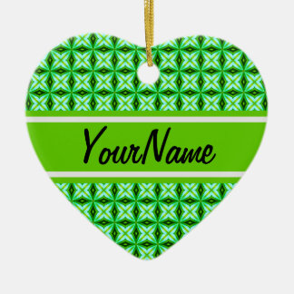 Personalized Name Elegant Green Abstract Stars Pat Ceramic Heart Decoration
