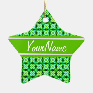 Personalized Name Elegant Green Abstract Stars Pat Ceramic Star Decoration