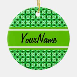 Personalized Name Elegant Green Abstract Stars Pat Ornaments