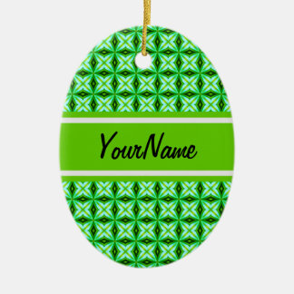 Personalized Name Elegant Green Abstract Stars Pat Christmas Ornament