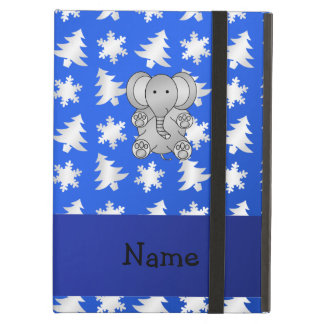 Personalized name elephant blue snowflakes trees iPad air case