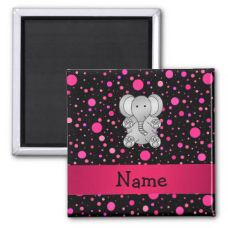 Personalized name elephant pink polka dots square magnet