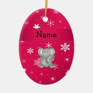 Personalized name elephant pink snowflakes christmas ornament