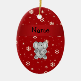 Personalized name elephant red snowflakes christmas ornament