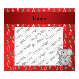 Personalized name elephant red snowman pattern photo art