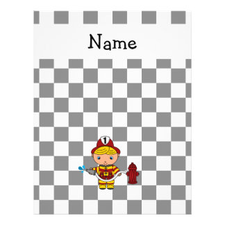Personalized name fireman black and white checkers flyers
