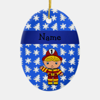 Personalized name fireman blue snowflakes trees ceramic oval decoration