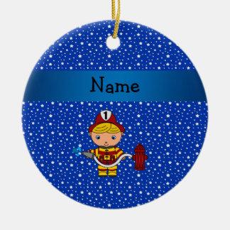 Personalized name fireman blue stars pattern round ceramic decoration