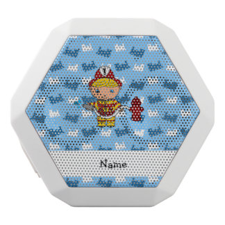 Personalized name fireman blue trains white boombot rex bluetooth speaker