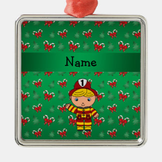 Personalized name fireman green candy canes bows christmas ornament