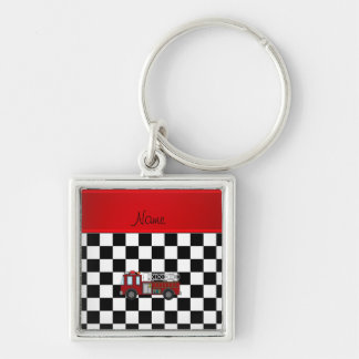 Personalized name firetruck black white checkers Silver-Colored square key ring