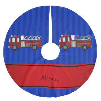 Personalized name firetruck blue stripes brushed polyester tree skirt