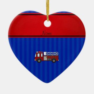 Personalized name firetruck blue stripes ceramic heart decoration