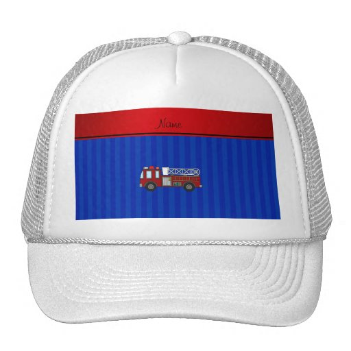 Personalized name firetruck blue stripes mesh hat
