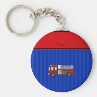 Personalized name firetruck blue stripes key chains