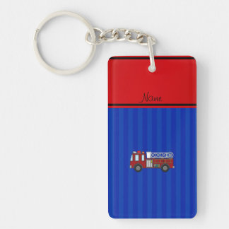 Personalized name firetruck blue stripes key ring
