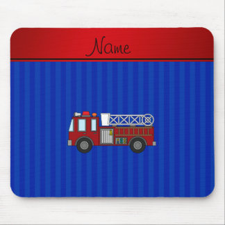 Personalized name firetruck blue stripes mouse pad
