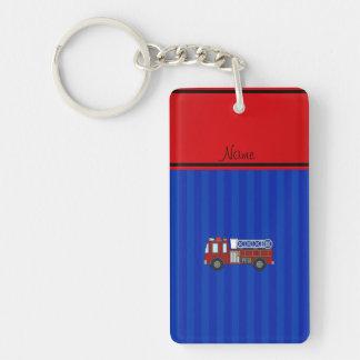 Personalized name firetruck blue stripes Single-Sided rectangular acrylic key ring