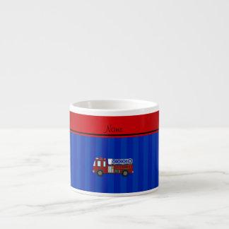 Personalized name firetruck blue stripes espresso mug
