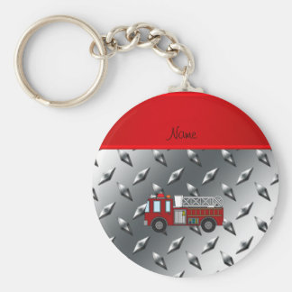 Personalized name firetruck diamond steel plate basic round button key ring
