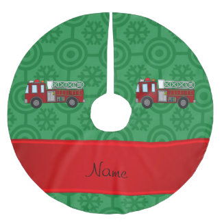 Personalized name firetruck green retro snowflakes brushed polyester tree skirt
