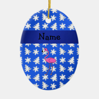 Personalized name flamingo blue snowflakes trees christmas ornament